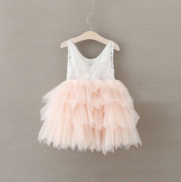 Wholesale Kids Mini Dresses - Vieeolove Baby Girls Dress Christmas Lace Tutu 2018 Spring Summer Autumn Dresses Childrens Sleeveless Kids Clothing Party Dress AA-211