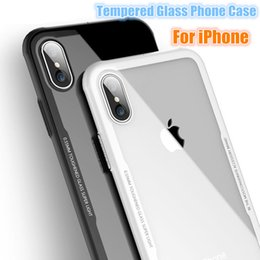 Wholesale Transparent Soft Glass - Shockproof Transparent Tempered Glass Case For iPhone X iPhone 8 7 Plus Silicone Soft TPU Hard Back Clean Explosion-proof Glass Cover