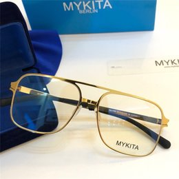 2019 gafas mykita Nuevas gafas MYKITA Optics 1769 montura cuadrada con lente de espejo montura ultraligera Aleación de memoria de gran tamaño para hombre y mujer Lente HD con caja gafas mykita baratos