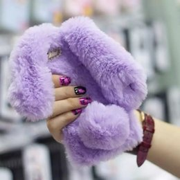 Wholesale Iphone Case Cover Bunny - for iPhone 6s TPU Bag Cover Cute Cases Rabbit Bunny Warm Furry Rabbit Fur TPU Phone Case for iPhone 6 6s Plus iPhone 7 7 Plus SE