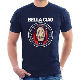 Wholesale BELLA CIAO La Casa De Papel футболка маска для взрослых мужчины женщины дети размеры Мода с коротким рукавом черный футболка