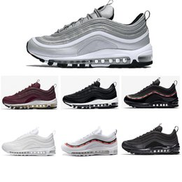 Wholesale height increase sport shoes - 2018 97 shoes Triple white black pink Running shoes Og Metallic Gold Silver Bullet Mens trainer Women sports Shoes sneakers size 36