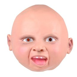 Wholesale smile face mask - Smiling Baby Latex Mask Costume Accessory Child Baby Head Mask For Cosplay Halloween