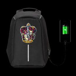 Wholesale American Girl School - Gryffindor backpack Harry Potter school bag Free shipping laptop daypack Computer Usb schoolbag Outdoor rucksack Sport day pack