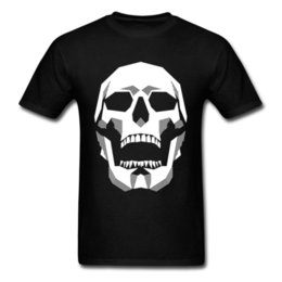 trendy shirts for men Coupons - Grim Geometry T Shirt Hip Hop Tee Men T-shirt Skull Tshirts For Hipster Summer Fall Trendy School Tops Cotton Clothes Black