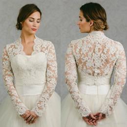 Wholesale Apricot Lace Dress - 2018 New Long Sleeves Bridal Wraps Jackets Lace Applique Bridal Coat Bolero Jacket for Wedding Dresses Plus Size Custom Made White Ivory