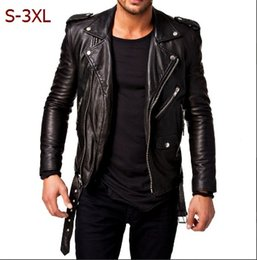 Wholesale Motorcycle Fit - New Men Fashion Hot Black Friday Leather Jacket Black Slim Fit Biker Motorcycle Lambskin Jacket