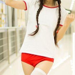 Wholesale Anime School Uniform - bloomers School Girls JK Sportwear Cosplay Uniform Suit T shirt Shorts Sukumizu Sexy Anime Costume Japanese Bloomers
