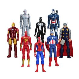 Wholesale Iron Man American Hero - 30cm Super Heroes The Iron Man Spider Man Captain American Thor Action Figure Toy Pvc Model Doll With Box