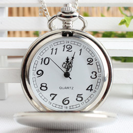 Черные полированные часы онлайн-Большой круглый гладкий польский карманные часы с длинными Chainquartz античные часы для женщин мужчины дети Рождественский подарок серебряный черный 2 Цвет