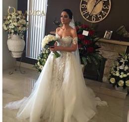 Argentina Vestido de novia apliques de encaje bordado con cuentas de alta calidad fuera del hombro Vestido de novia sirena falda desmontable Suministro