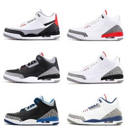 Novos sapatos pretos on-line-III preto branco cimento três tênis de basquete funileiro azul furacão vermelho novo 2018 sapatilhas mens formadores tamanho 7-13 michael sports