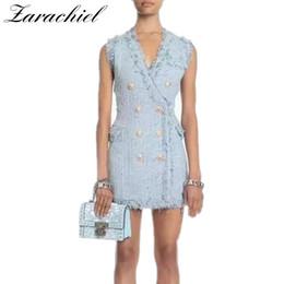 New 2018 Autunno Designer Runway Blue Tweed vestito aderente da donna senza  maniche oro leone bottoni con scollo a V nappa gilet abiti c3912978548