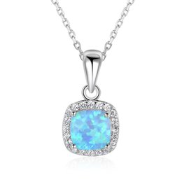 Wholesale Opal Silver Pendant - NEW Classic Sterling Silver Square Necklace White Opal Cubic Zirconia Pendant Necklace Jewelry Mother's Day Gift Necklaces For Women