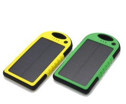 Wholesale Mobile Solar Charger For Laptop - 5000mAh solar power Charger and Battery solar panel waterproof shockproof Dustproof portable power bank for Mobile Cellphone Laptop 30pcs