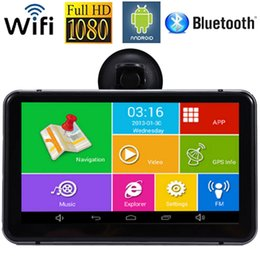Wholesale Gps Dvr Wifi - Wholesale-Android Car DVR GPS Navigator 7 Car GPS Navigation MTK Quad Core 512M 8G Bluetooth AV-IN Wifi 170 Degree Dash Cam FM Transmitter