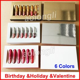 Wholesale valentine gold - Gold lip gloss Birthday Limited Edition Holiday Matte Lipstick Valentine Lip gloss Mini Kit Lip Cosmetics 6 Colors set makeup