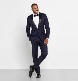 Wholesale Men Suit Design Prom - Stylish Design Groom Tuxedos One Button Navy Blue Peak Lapel Groomsmen Best Man Prom Suit Men Wedding Suits (Jacket+Pants)