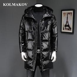 Vestido de patos online-KOLMAKOV 2018 Calidad superior Nuevo Invierno Negro Abrigos largos impermeables Abrigos y chaquetas de pato para hombre Vestido de lujo Homme Hombres M-3XL