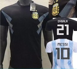 Player version 2018 world cup Argentina home Soccer Jersey Argentina 10  MESSI soccer shirt  21 DYBALA  9 AGUERO away black Football uniforms argentina  world ... 2b9269e2e