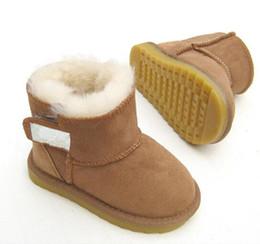Couro quente on-line-2018 Austrália alta qualidade Clássico Do Bebê botas de neve Austrália WGG Estilo Clássico Vaca Camurça De Couro À Prova D 'Água Inverno botas de Algodão Botas Quentes