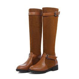 großhandel kniehohe stiefel high heel schuhe frauen ritter casual stiefel mode patchwork runde kappe alle spiel mischfarben plus größe von Fabrikanten