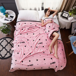 Wholesale King Pink Blanket - Fashion Warm Pink Stars Plush Soft Faux Mink Flannel Fleece Blanket Throw Twin Full Queen King Size Bed Sofa Air Cover Bedsheet