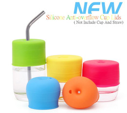 Wholesale water leakage - Leakage Elasticity Silicone Straw Cup Cover Baby Child Drinking Water Training Infant Drink Cup Cover Colourful Cup lid Drinkware Lid