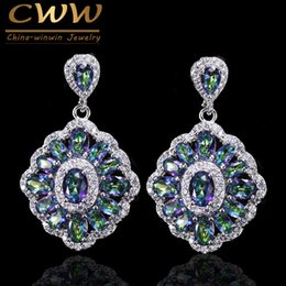 Wholesale Fire Stone Crystal - wholesale  Brand Luxurious Women Crystal Jewelry Vintage Drop Blue Rainbow Fire Mystical Earring With Zircon Stones CZ053