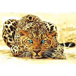 Wholesale Leopard Canvas Wall Art - unframed Leopard animals DIY painting by numbers Acrylic picture wall art canvas painting home decor unique gift 40x50cm artwork