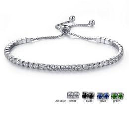grossistas pulseiras magnéticas para homens Desconto Pave CZ Zirconia Pulseira De Tênis Para As Mulheres Azul Claro Verde Branco Preto Gemstone Pulseira De Cristal Jóias