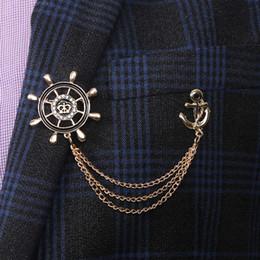 i perni dei perni sono ancorati Sconti Moda vintage timone catena di ancoraggio gioielli regalo spilla distintivo vestito collare vestiti accessori spilla per gli uomini timone