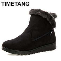 Wholesale wedge snow boots for women - TIMETANG Women Ankle Boots for Rabbit Fur New Fashion Waterproof Wedge Platform Winter Warm Snow Boots Shoes For Female