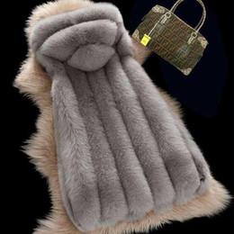 Wholesale Long Faux Fur Gilet - S-4XL Plus size Women's winter faux fox fur coat Full Pelt Fox Fur Long Sleeveless Hooded Vest Waistcoat Gilet Custom Made w1993