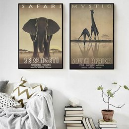 Wholesale Giraffe Sheets - 2 paintings of elephants and giraffe wall poster wall decoration picture living room bedroom wall sticker