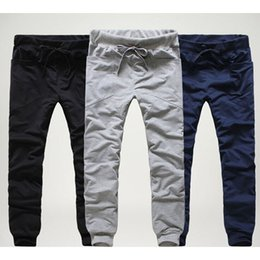 Wholesale men pants laces - 2017 Mens Joggers Cargo Unique Pocket Men Pants Black lace-up Sweatpants Harem Pants Men Jogging Sport Pants Men Pantalones Hombre M-2XL
