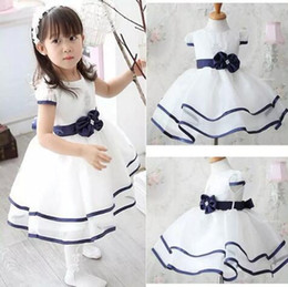Wholesale Free Kids Pageant Dresses - white blue hot selling girls dresses party pageant weeding vestidos fashion lovely children sundress kids clothing set free shipping B11