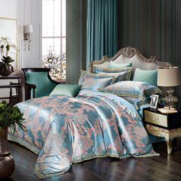 Wholesale Luxury Red Comforters - Luxury modal silk lace bedding set 4 pieces bed set sky blue quilt blanket comforter duvet COVER cotton sheet pillowcase hot5810