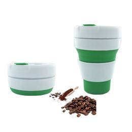 Портативный силиконовая чашка кофе складная кружка 12 унц. 350 мл FDA пищевой чай стакан складной путешествия бутылка воды бесплатная доставка FEDEX cheap ship coffee mugs от Поставщики кофейные кружки