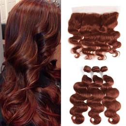 farbe 33 dunkel kastanienbraun Rabatt Virgin Peruvian Dark Auburn menschliche Haarwebart mit voller Spitze Frontal Farbe # 33 Brown Auburn Haarsträhnen mit Spitze Frontal Schließung
