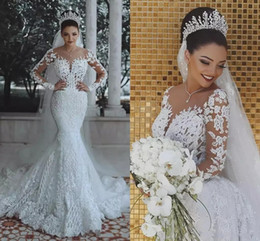 crystal bling bodice mermaid dress Promo Codes - 2018 Said Luxury Mermaid Wedding Dresses Sheer Neck Beaded Crystal Bling Lace Appliques Arabic Long Sleeves Plus Size Formal Bridal Gowns