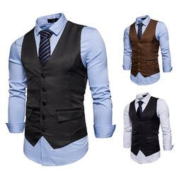 dress matching black man Coupons - New fashion men's color matching gentleman dress casual solid color men's business formal suit vest