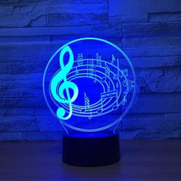 Wholesale Free Music Keyboard - Music Symbol 3D Optical Illusion Lamp Night Light DC 5V USB Powered AA Battery Wholesale Dropshipping Free Shippin