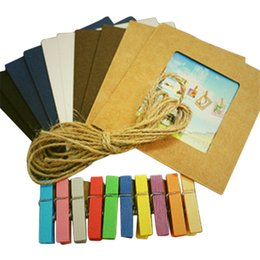 Wholesale Hanging Rope Frame - New Sale Creative Gift Home Decoration 10pcs lot DIY Wall Hanging Paper Photo Frame Wall Picture Album + Rope +wooden clip