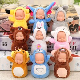 Wholesale Doll Face Bags - 10cm Plush Cloth Sleeping Baby Doll Key Buckle Creative Kawaii Colorful Keys Chain For Women Bag Fun Decoration Pendant With Aroma 6yk Z