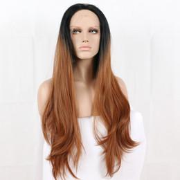 Cores de perucas on-line-Parte Dianteira do laço Perucas perucas dianteiras do laço sintético para as mulheres do cabelo das senhoras longo substituição castanho escuro ombre loiro cor misturada onda do corpo ombre peruca