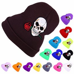 Wholesale Roses Crochet - Knitted Hat Beanies Embroidery Skulls Rose Hip Hop Winter Warm Hat For Adult 15 Colors b1424