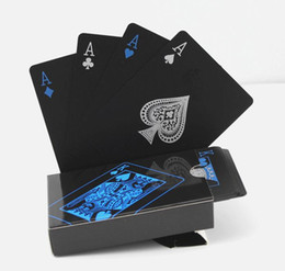Wholesale Poker Playing Cards Deck - Hot Waterproof PVC Plastic Playing Cards Set Trend 54pcs Deck Poker Classic Magic Tricks Tool Pure Color Black Magic Box-packed