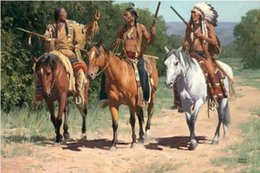 native figures Coupons - Living room wall painting wall decoration fabric native indian horse paintings