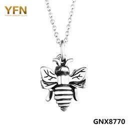 Plata de ley antigua online-Yfn Genuino 925 Sterling Silver Bumble Bee Charm Necklace Plata Antigua Vintange Colgantes Collares Para Las Mujeres 18 pulgadas Gnx8770